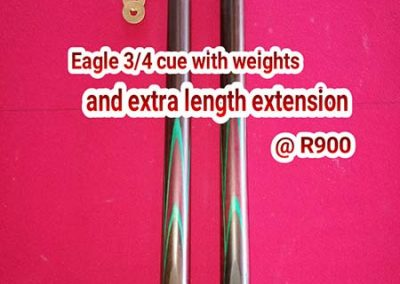 3/4 Cue with extra length extension plus weights